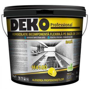 hidroizolatie bicomponenta flexibila pe baza de ciment Deko H4100 pentru piscine, fundatie si baie