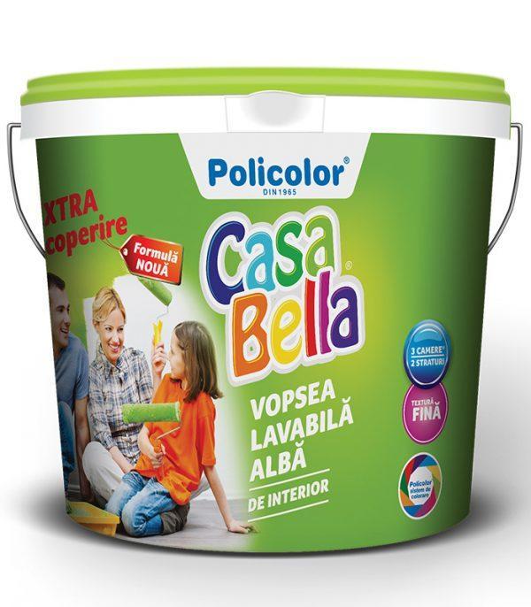 vopsea lavabila alba de interior CasaBella cu textura fina si extra acoperire Policolor