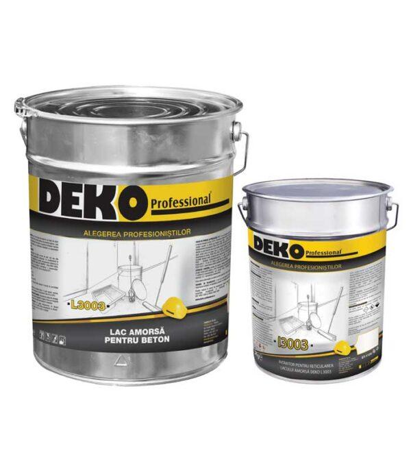 DEKO L3003 I3003 amorsa pardoseli epoxidice este un lac epoxidic fără solvent, bicomponent, incolor, reticulabil cu întăritor aminic, cu bună penetrare în suport.