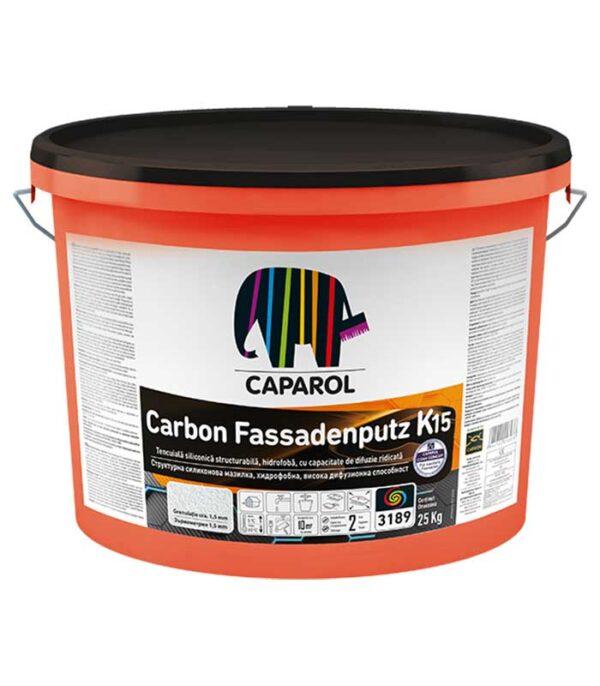 """Caparol Carbon Fassadenputz K si R este o tencuiala decorativa de inalta clasa, intarita cu fibre de carbon. Produsul este o decorativă structurabilă întărită cu fibre de carbon, cu o structură tip R - """"zgâriată"""" sau tip K - """"bob lângă bob"""", cu efect puternic de hidroperlare dar în același timp o înaltă permeabilitate la vaporii de apă."""