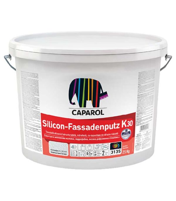 Tencuiala decorativa Caparol Silicon Fassadenputz K si R este o tencuiala siliconica structurabila, hidrofoba, cu capacitate de difuzie ridicata.