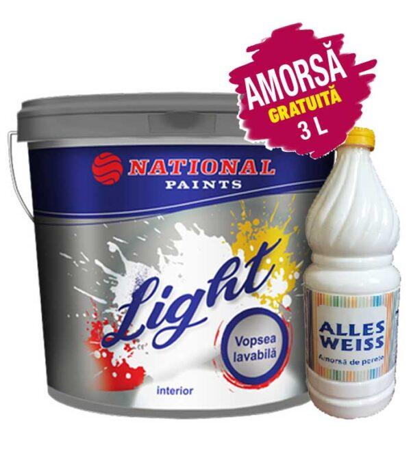 Vopsea lavabila Light National Paints 15L + 3L amorsa GRATUIT - este o vopsea lavabila de interior care acoperă foarte bine, grad de alb ridicat și o lavabilitate bună.