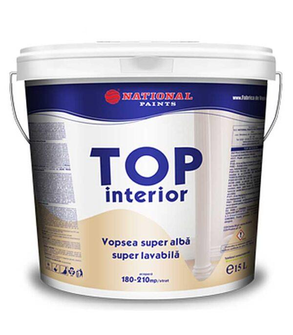 Vopsea superlavabila TOP interior 15L este o vopsea lavabilă în emulsie apoasă pentru zugrăveli interioare. Se caracterizează prin gradul de alb superior, putere foarte bună de acoperire, aplicare ușoară.