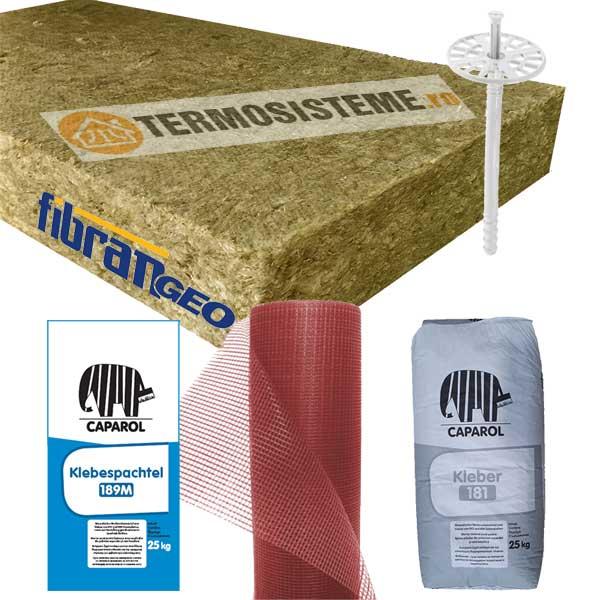 Termosistem vata bazaltica Caparol 10cm este un sitem de izolare termica a fatadei alcatuit din vata bazaltica fatada 30 kPa 100mm (MW 100) Fibran de 10cm.