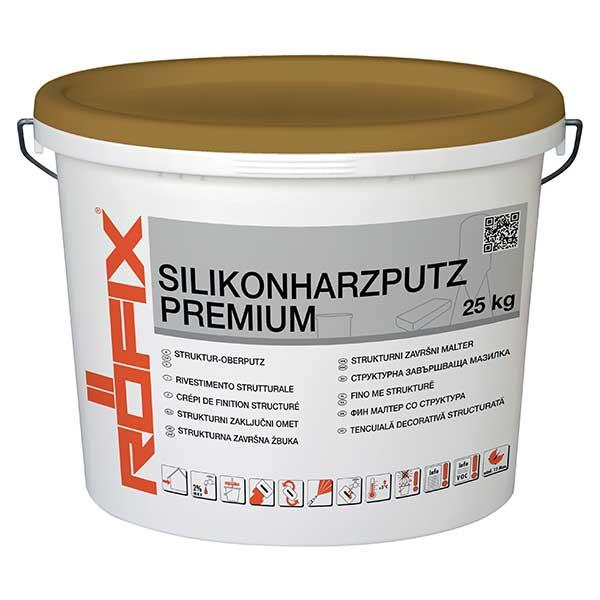 Tencuiala decorativa ROFIX Silikonharzputz PREMIUM este o tencuială în strat subţire, gata de utilizare, cu diverse granulaţii, texturi şi nuanţe.
