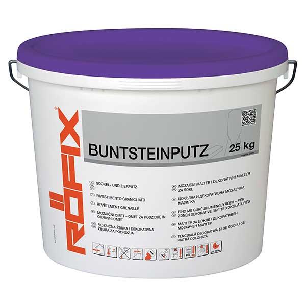 Tencuiala soclu ROFIX Buntsteinputz este o tencuială decorativă gata de utilizare cu efect MultiColor şi de curăţare. Special adecvată pentru zona de soclu.