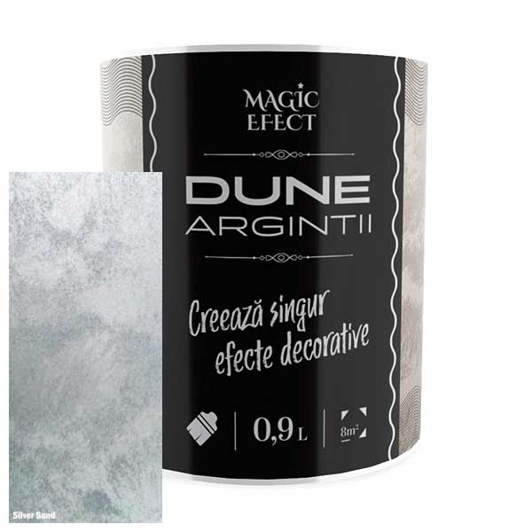 Vopsea cu efect decorativ Dune argintiu Magic Efect este o vopsea acrilică pe bază de apă, pigmenți perlați, nisipuri fine cuarțoase și aditivi speciali.