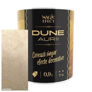 Vopsea cu efect decorativ Dune auriu Magic Efect este o vopsea acrilică pe bază de apă, pigmenți perlați, nisipuri fine cuarțoase și aditivi speciali.